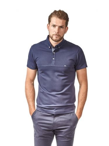 Mish Mash Men's Designer Navy Short Sleeve Button Down Polo Shirt